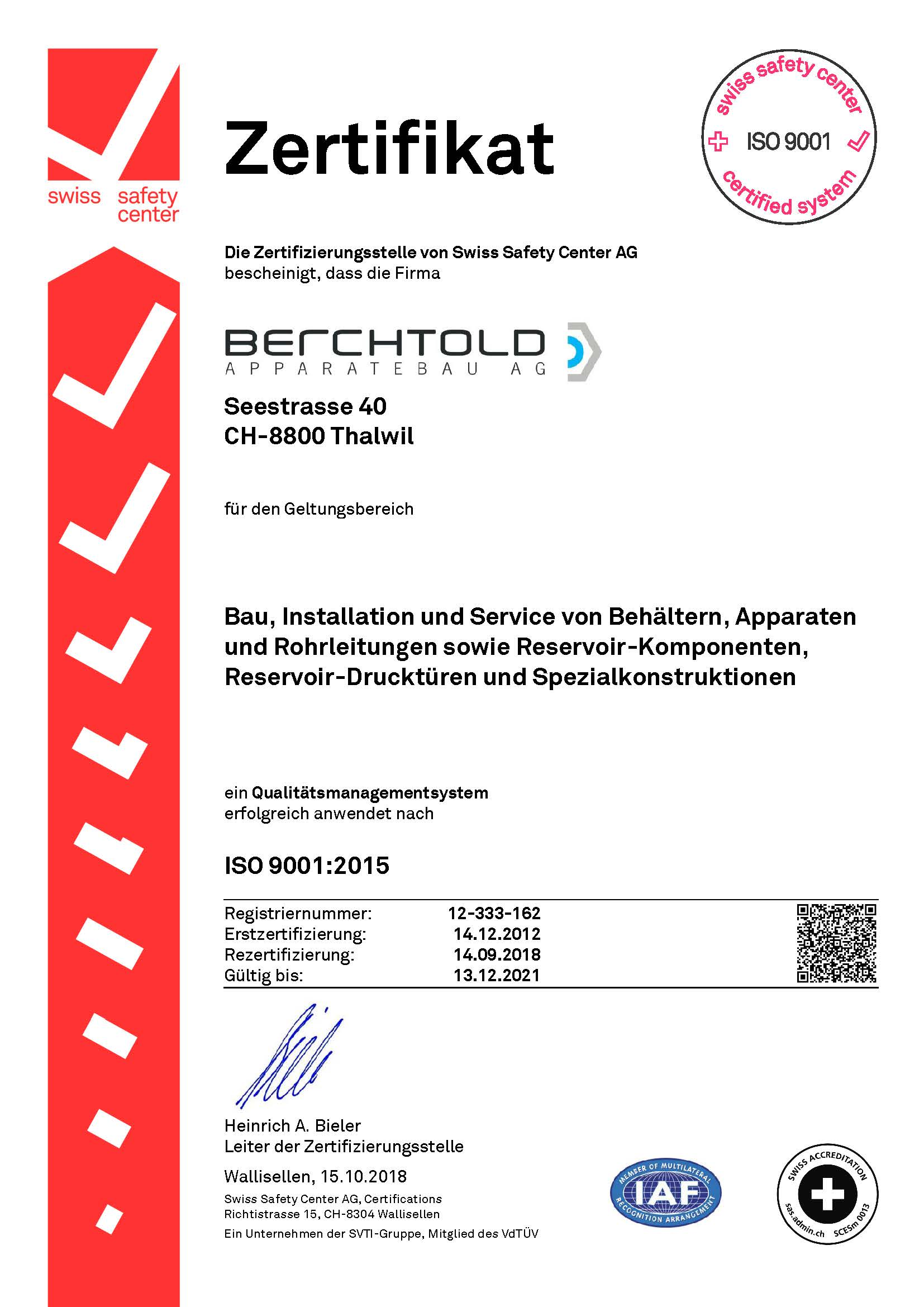 Zertifikat ISO 9001 Berchtold Apparatebau AG-signed